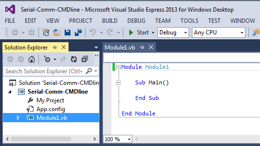 creating a visual basic .net project using MS visual Studio