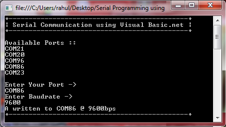 writing into Serial Port using Visual Basic .net