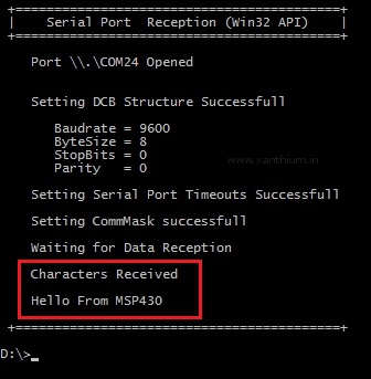 Data received by the PC serial port