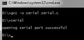 Compiling the Win32 serial port  program using MinGW