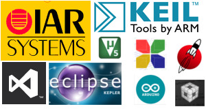 tutorials on configuring IAR embedded work bench,Eclipse IDE,VisualStudio etc