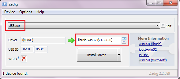 installing software drivers for usbasp on Windows7 using zadig