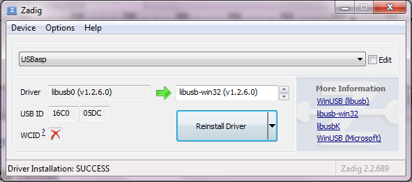 how to successfully install libusb driver for usbasp on windows 7