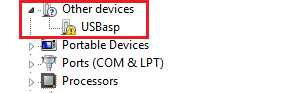 device manager on windows7 showing USBasp drivers missing