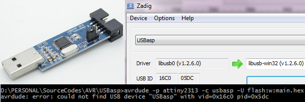 "solving could not find USB device ""USBasp"" with vid=0x16c0 pid=0x5dc error for usbasp on windows"