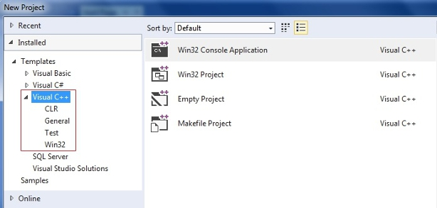 Creating a New Project in Visual Studio Express 2013