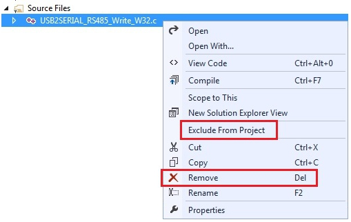 removing the files from a visual studio project