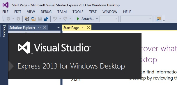 Visual studio tutorial front page